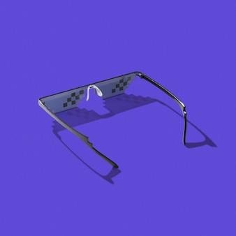 Occhiali pixel art utilizzando per la protezione nel processo di lavoro con schermi di computer, telefoni e tv su un lilla scuro con ombre dure, copia spazio.