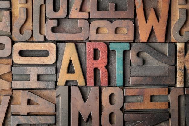 Parola d'arte in blocchi di stampa tipografica