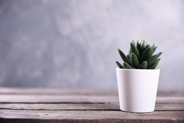 Fiori artificiali erba forma diversa in una pentola su sfondo di legno vicino con copia spazio e testo.