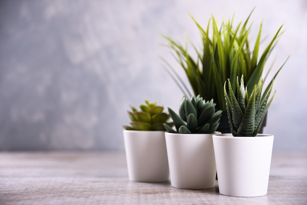 Forma diversa di erba di fiori artificiali in una pentola su fondo di legno si chiuda con lo spazio della copia e il testo.