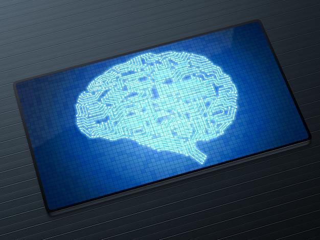 Concetto di tecnologia di intelligenza artificiale con cervello a circuito