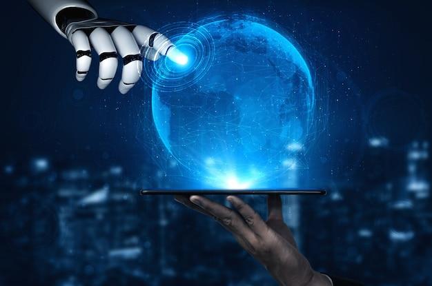 Intelligenza artificiale ricerca di intelligenza artificiale di robot e sviluppo di cyborg per il futuro delle persone che vivono