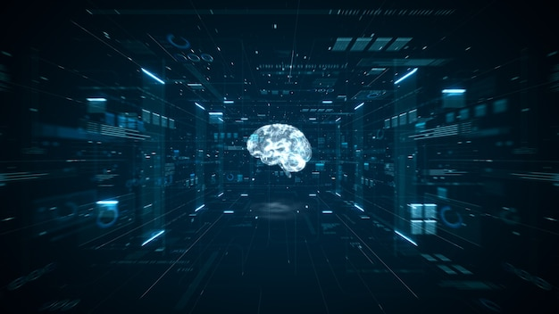 Animazione del cervello di intelligenza artificiale. macchina del computer di apprendimento profondo dei big data del cervello digitale. concetto di big data di animazione. analisi del flusso di big data. cervello digitale di intelligenza artificiale. rendering 3d.