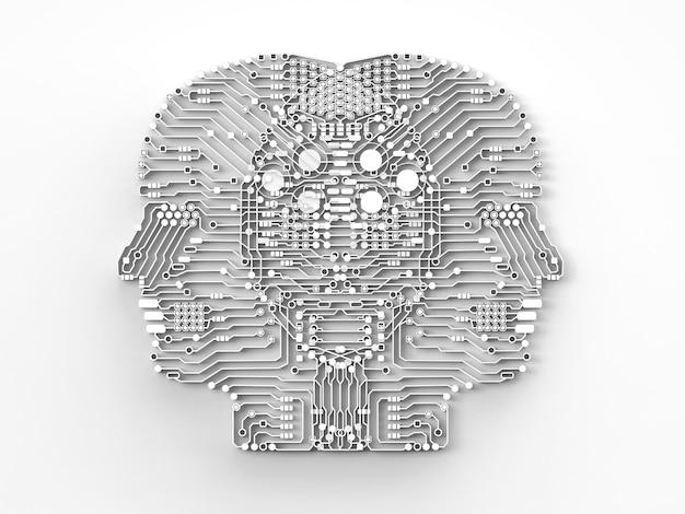 Cervello di intelligenza artificiale o circuito stampato a forma di testa