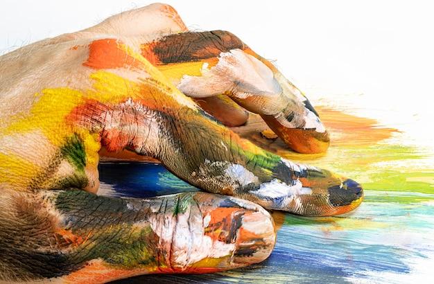 Mano dell'artista in vernice multicolore