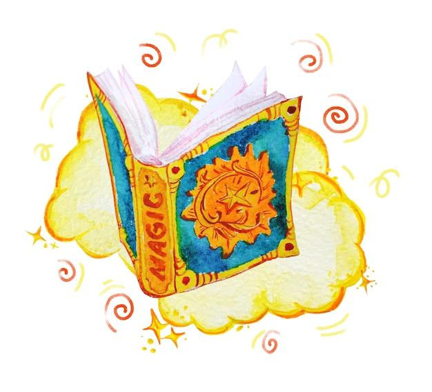 Illustrazione magica artistica con elementi artistici disegnati a mano isolati su priorità bassa bianca - libro di incantesimi aperto, fumo.