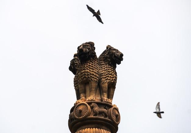 Immagine del pilastro ashoka nel cielo con gli uccelli che volano