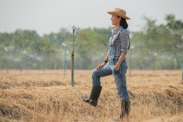 Asia giovane agricoltore femminile in cappello in piedi e camminare in campo donna per ispezionare in giardino agricolo. crescita delle piante. ecologia di concetto, trasporto, aria pulita, cibo, prodotto biologico.