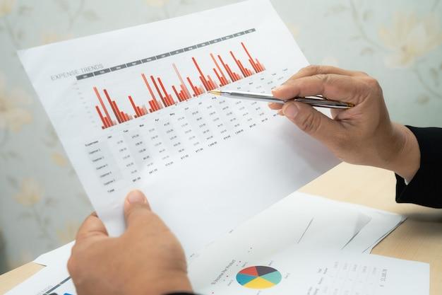 Ragioniere asiatico che lavora e analizza la contabilità del progetto di rapporti finanziari con grafico grafico e calcolatrice