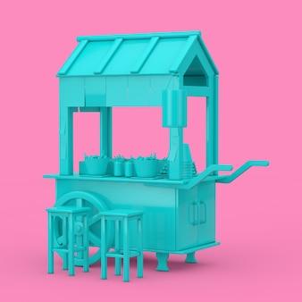 Asian blue street food polpette noodle carrello con sedie in stile bicromia su uno sfondo rosa. rendering 3d