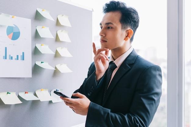 Gli uomini d'affari asiatici stanno pianificando un'attività accanto al tabellone del piano