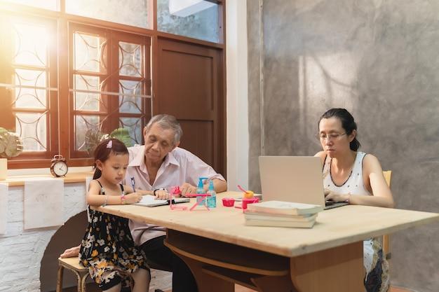 La giovane donna asiatica di affari usa il lavoro del laptop da casa