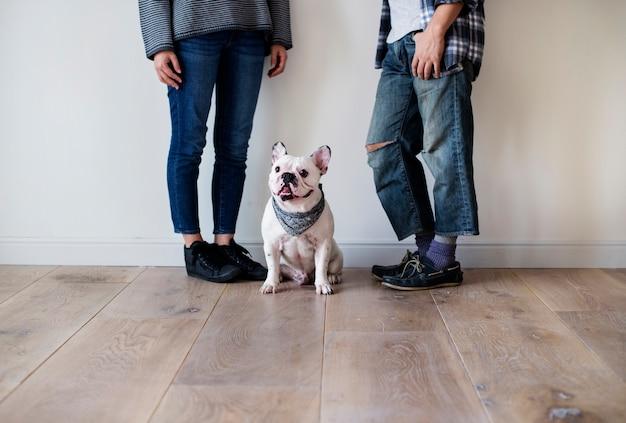 Coppie asiatiche con il bulldog francese