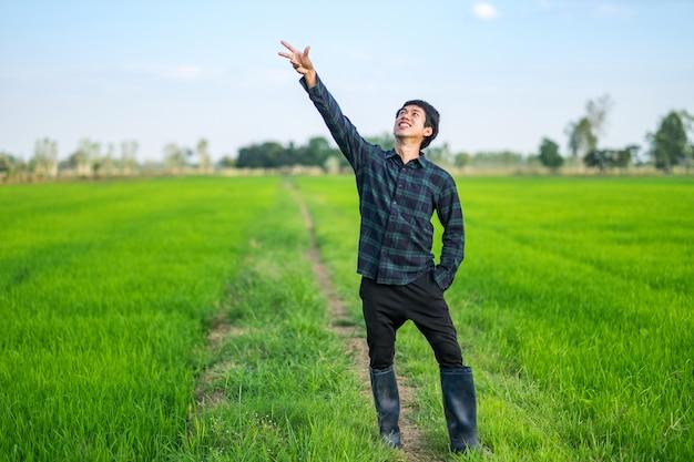 Sorriso asiatico dell'uomo del coltivatore e cima alzata della mano in una fattoria del riso verde