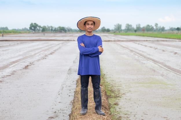 L'uomo asiatico del coltivatore indossa una maglietta blu e un cappello che sta guardando il riso alla fattoria