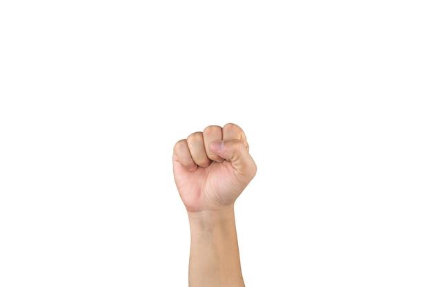 La mano asiatica mostra e conta 0 zero dito su sfondo bianco isolato. con tracciato di ritaglio