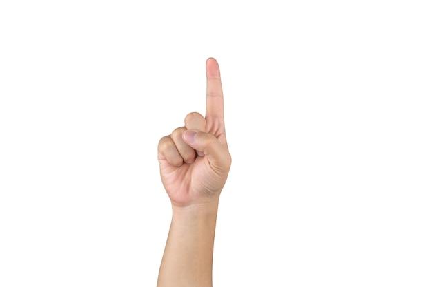 La mano asiatica mostra e conta 1 dito su sfondo bianco isolato con tracciato di ritaglio