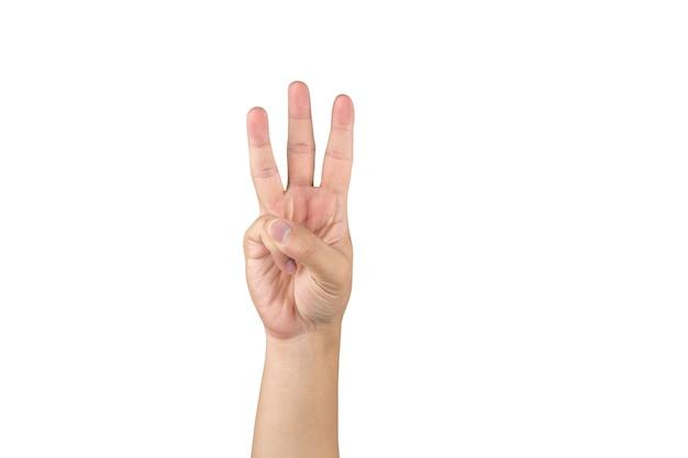 La mano asiatica mostra e conta 3 dita su sfondo bianco isolato con tracciato di ritaglio