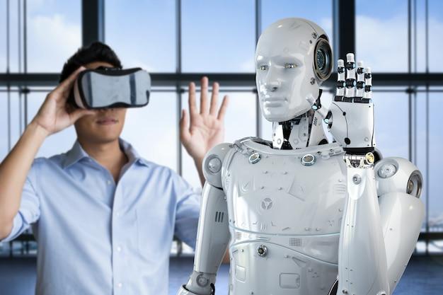Uomo asiatico che indossa l'auricolare vr e controlla il robot di rendering 3d