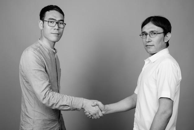 Operaio edile degli uomini asiatici isolato insieme