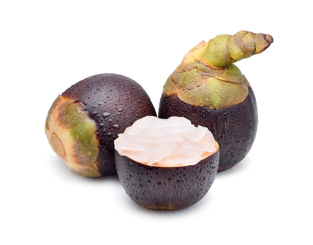 Palma asiatica palmyra, palma toddy, palma da zucchero su bianco