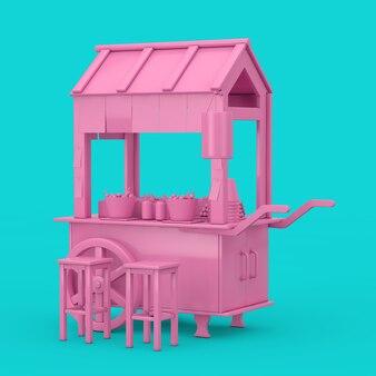 Asian pink street food polpetta noodle carrello con sedie in stile bicolore su sfondo blu. rendering 3d