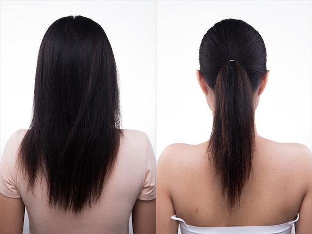 La donna asiatica prima dopo l'applicazione dei capelli fa lo stile. nessun ritocco, viso fresco, vista laterale posteriore. sfondo bianco di illuminazione da studio, per il trattamento di terapia estetica