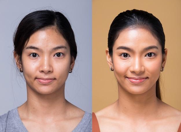 Donna asiatica prima dopo aver applicato lo stile di capelli trucco. nessun ritocco, viso fresco con acne, labbra, occhi, guance, bella pelle liscia. studio illuminazione sfondo giallo grigio, per il trattamento di terapia estetica