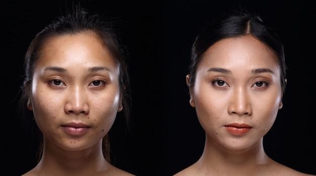 Donna asiatica prima dopo aver applicato lo stile di capelli trucco. nessun ritocco, viso fresco con una pelle bella e liscia. sfondo nero di illuminazione dello studio. luce drammatica della foto identificativa del ritratto