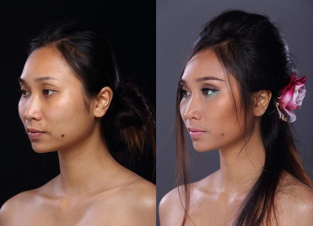 Donna asiatica prima dopo aver applicato lo stile di capelli trucco. nessun ritocco, viso fresco con una pelle bella e liscia. studio illuminazione sfondo grigio nero