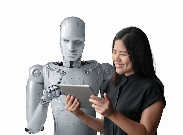 Donna asiatica felice di vivere con un cyborg