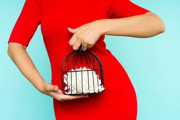 Donna asiatica in vestito rosso che tiene una gabbia per uccelli con un fiore all'interno sullo spazio blu