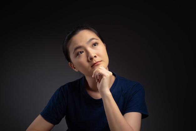 Donna asiatica che pensa al problema, emozione preoccupata e confusa isolata su priorità bassa.