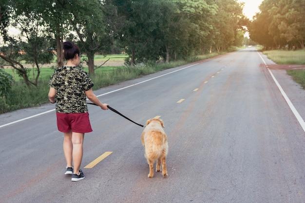 Donna asiatica con il suo cane golden retriever che cammina sulla strada pubblica.