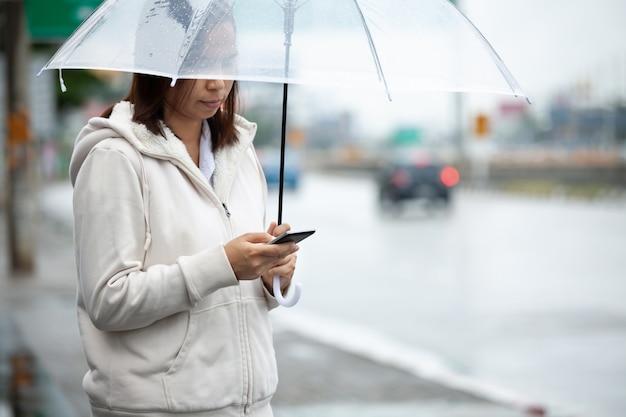 Donna asiatica con un ombrello sotto la pioggia
