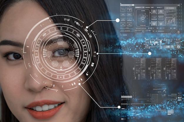 Le donne asiatiche sono schermo futuristico della tecnologia digitale di visione sopra la visione dell'occhio