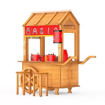 Carrello di pasta di polpette di cibo di strada in legno asiatico con sedie su sfondo bianco. rendering 3d