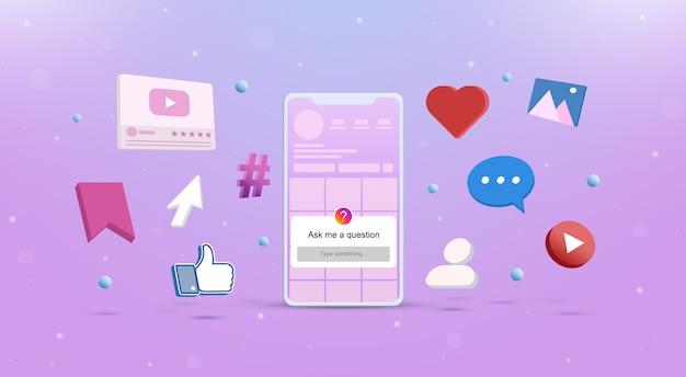 Fammi un modulo di domanda sullo schermo del telefono con le icone dei social network intorno a 3d