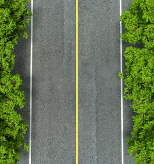 Linea gialla e bianca di struttura della strada asfaltata, sulla strada