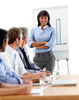 Donna di affari etnica assertiva che fa una presentazione alla sua squadra