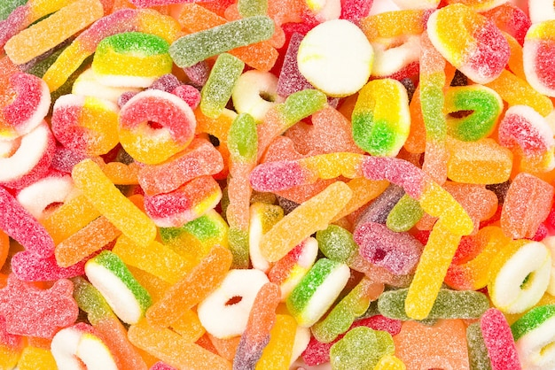 Caramelle gommose assortite. vista dall'alto. dolci di gelatina.