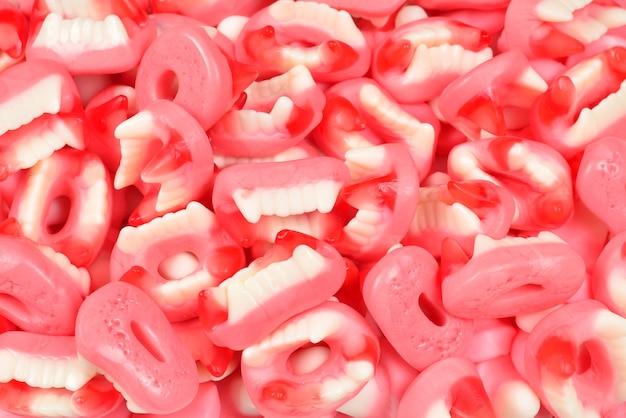 Caramelle gommose assortite. vista dall'alto. caramelle di gelatina.