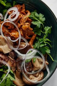 Primo piano di funghi sott'aceto assortiti, un mix di funghi porcini, finferli, funghi ostrica su un piatto con cipolle ed erbe aromatiche, vista dall'alto.
