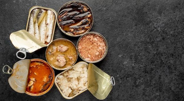 Assortimento di lattine di cibo in scatola con diversi tipi di pesce salmone, tonno, sgombro e spratti e frutti di mare su uno sfondo di pietra con copia spazio per il testo