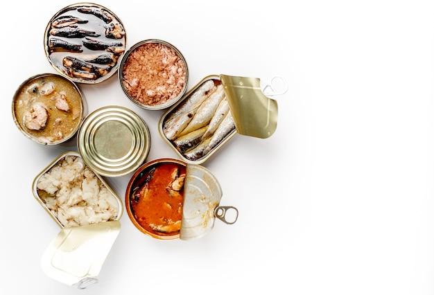 Assortimento di lattine di cibo in scatola con diversi tipi di pesce salmone, tonno, sgombro e spratti e frutti di mare contro uno sfondo bianco con copia spazio per il testo