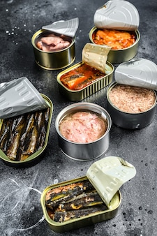 Assortimento di lattine, in scatola con diversi tipi di pesce e frutti di mare. sfondo nero.