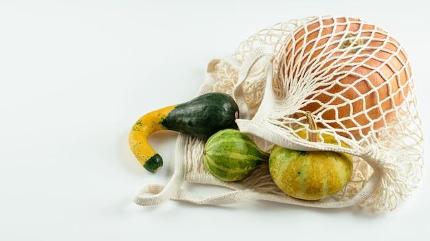 Assortimento di zucche in borsa a rete bianca. acquista locale, senza plastica e zero rifiuti