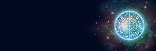 Cerchio astrologico con il segno zodiacale su uno sfondo di cielo stellato