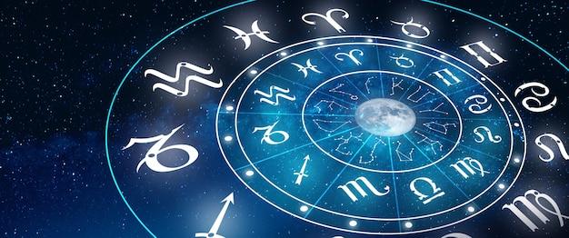 Segni zodiacali astrologici all'interno del cerchio dell'oroscopo il potere del concetto dell'universo