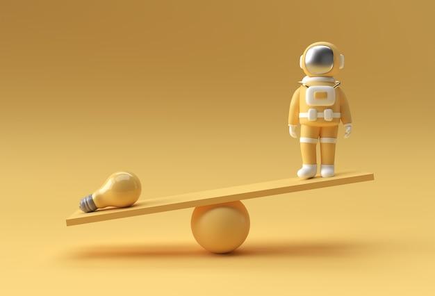 Idee per l'equilibrio degli astronauti. concetto di idea della lampadina. illustrazione di rendering 3d.